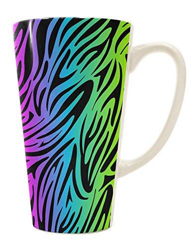 TooLoud Rainbow Zebra Print 16 Ounce Conical Latte Coffee Mug All Over Print