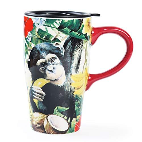 Minigift Travel Cup Tea Coffee Mug Beautiful Ceramic Cups with Lid Big Animals Handmade Milk Mug as Gift 16oz for Women Men Kids Monkey