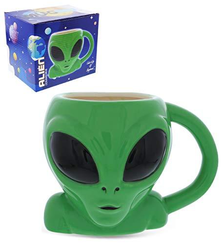 Mugniv Green Alien Cartoon Novelty Mug Ceramic Cute Coffee Mugs Tea Cup Cool Unique UFO Shaped Alien Mug for Coffee Lovers Gifts Kids Mugs For Hot Chocolate Space Decor Kitchen Cups - 17 Oz