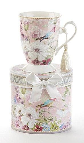 Porcelain Tea  Coffee Mug in Gift Box Daisy Bird