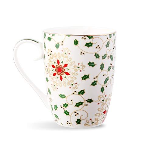 Royal Fine Ceramic Coffee Mug Tea Cup Elegant Christmas Theme porcelain Teacups 15 oz 1 Green-02