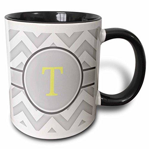 3dRose 222108_4 Grey Chevron Monogram Initial T Mug 11 oz BlackWhiteyellow