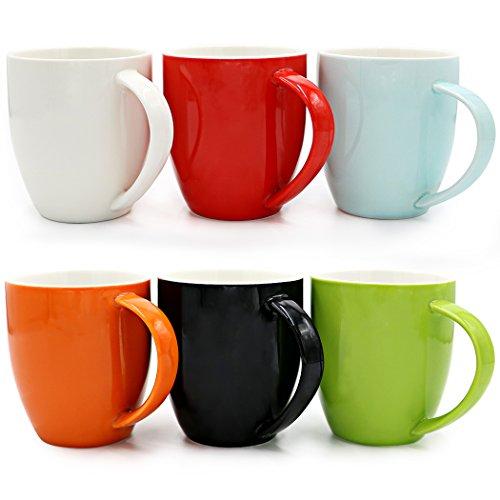 Asmwo Set of 6 Colorful Cute Ceramic Tea Coffee Bistro Mugs for Coffee Maker 14-OZ