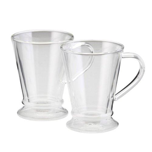 BonJour Coffee Insulated Borosilicate Glass Coffee Mugs 2-Piece Set 10-Ounces Each