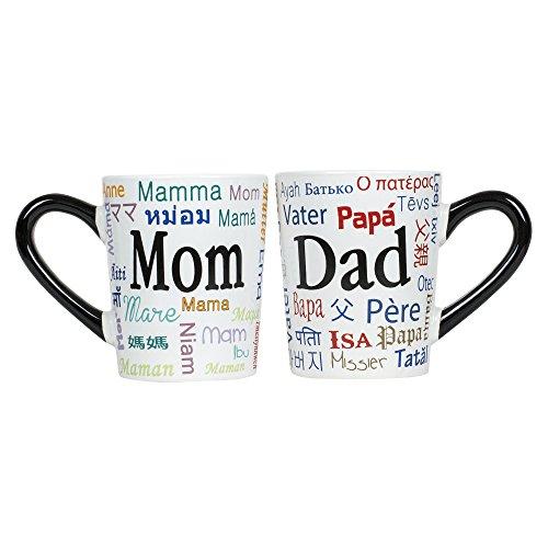 Dad and Mom Linguistic Names 20 oz Ceramic Stoneware Coffee Mug Set