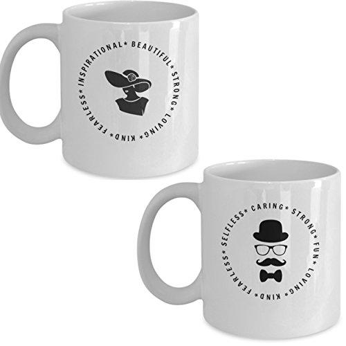His and Hers Coffee Mug Set – 2 11-oz Ceramic Coffee Mugs