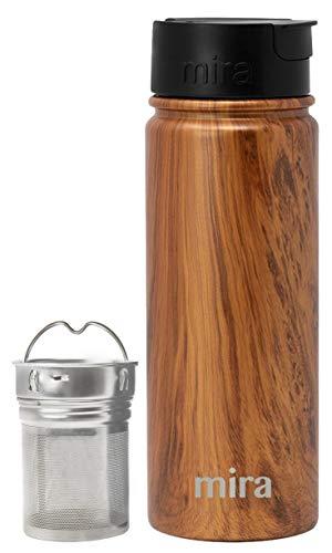 Mira Stainless Steel Tea Infuser Travel Mug  Insulated Coffee Mug Thermos with Strainer  Hot Cold Tea Tumbler for Loose Leaf Tea  BPA-Free Leak Proof Flip Cap  Wood 18 oz