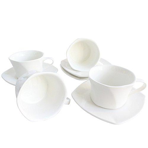 Babayaga Petal Design Unique Plain White Porcelain Coffee Espresso Mug Set Ceramic Tea Cup with Saucer Assorted of 4