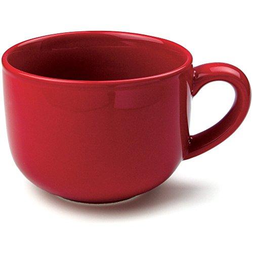 OmniWare Teaz Cafe Red Stoneware 24 Ounce Jumbo Coffee Mug Set of 4