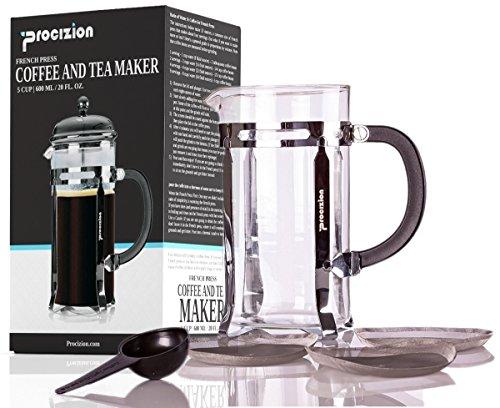 Procizion French Press 8 Cup 4 Mug Coffee Espresso and Tea Maker in 34 Oz Includes 6 Filters