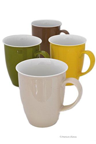 Set 4 Assorted Color Fine Porcelain Medium 9oz Coffee Latte Tea Mugs Cups
