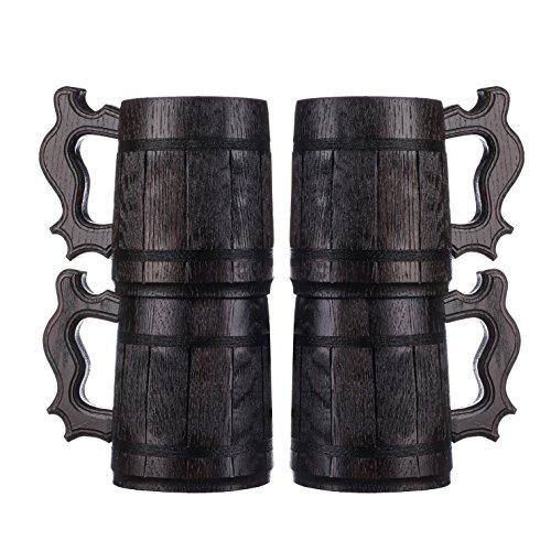 Set of 4 Beer Mugs  Gifts Set of 4 Wooden Beer Mugs  Set of 4 Mugs By WoodenGifts - 06 Litres Or 20oz Wooden Mugs - Set of 4 Coffee Mugs - Set of 4 Stainless Steel Cups Set of 4 Mugs