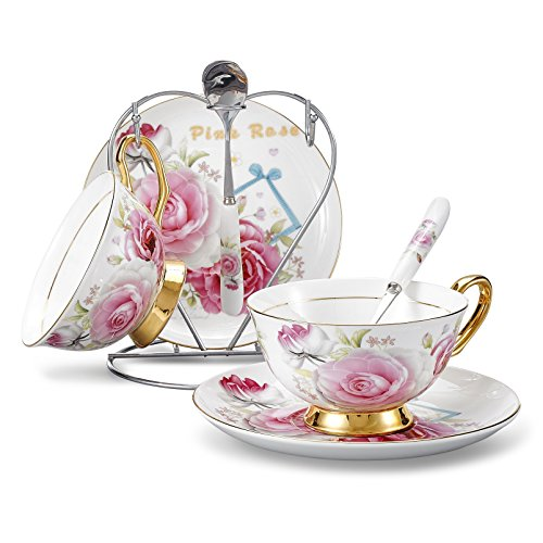 Panbado Bone China 7-Piece Gold Rimmed Cup Saucer Spoon Set Art 68 Ounce Porcelain Tea Coffee Cup with Silver Metal HolderPink RoseService for 2 Person