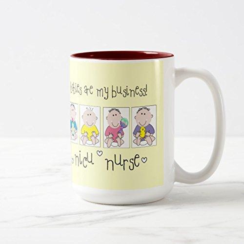 Zazzle Nicu Nurse Gifts Babies Are My Business Coffee Mug Maroon Two-Tone Mug 15 oz
