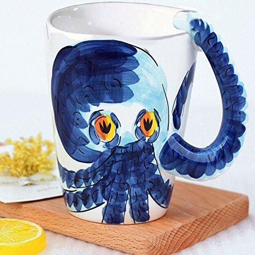 3D Handmade Creative Art Coffee Mug Ceramic Milk Cups Ocean Style With handle Painted Octopus
