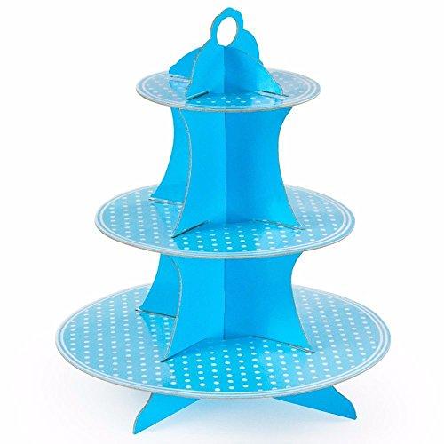 Awesomes Light Blue Cupcake Paper Cardboard Foldable Holder Tower Dessert Cardboard Cupcake Stand
