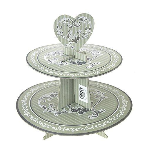 Homeford Elegant Wedding Cardboard Cupcake Stand Grey 2-Tier 11-Inch