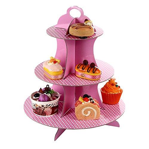 Yarssir 3-Tier Round Cardboard Cupcake Stand for DessertsBirthdaysDecorations - Cupcake TowerDessert StandTreat StandLight Pink1 Pack
