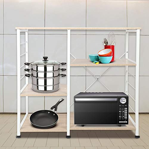 TOPINCN Kitchen Bakers Rack 3-Tier3-Tier Practical Kitchen Mircrowave Oven Cookware Storage Shelf Storage Rack for Spice Rack Organizer Workstation