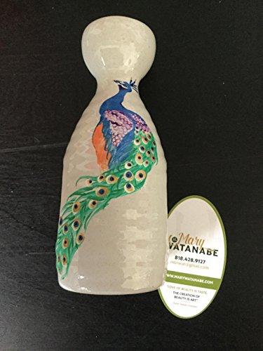 Japanese Sake BottleVase--Hand Painted Colorful Peacock Gift 4 BirthdayHolidayAnniversaryFatherMotherHouse WarmingHostBest Friend
