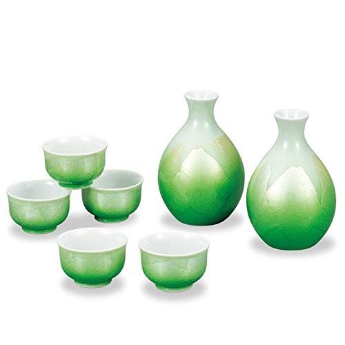 Japanese drawn Ceramic Porcelain kutani ware Japanese sake bottle tokkuri and sake cup guinomi set Japanese ceramic Hagiyakiya 714