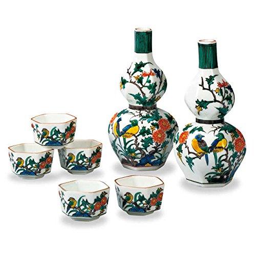 Japanese drawn Ceramic Porcelain kutani ware Japanese sake bottle tokkuri and sake cup guinomi set with wooden box Japanese ceramic Hagiyakiya 717