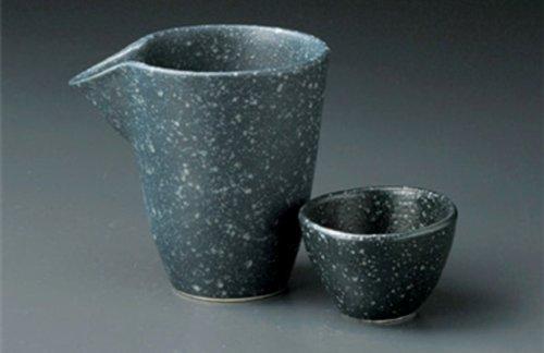 SILVER BLACK Jiki Japanese Porcelain SAKE Set