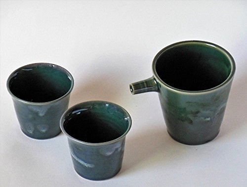 Handmade Ceramic Sake Set Green Sake Carafe Set Pottery Sake Bottle Cup