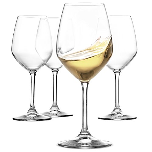 Paksh Novelty Italian White Wine Glasses - 15 Ounce - Lead Free - Shatter Resistant - Wine Glass Set of 4 Clear
