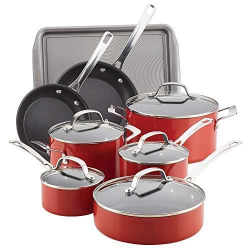 Circulon 14570 Genesis Nonstick Cookware Pots and Pans Set 13 Piece Red