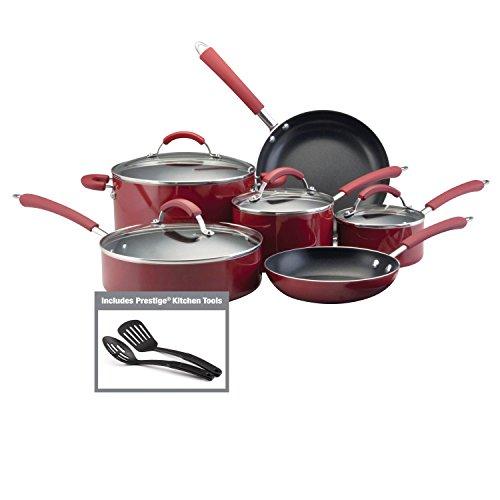 Farberware 10573 Millennium Nonstick Cookware Pots and Pans Set 12 Piece Red