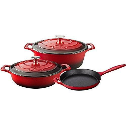 La Cuisine LC 2700 5-Piece Enameled Cast Iron Cookware Set in Red Oval Casserole