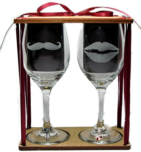 His and Hers Lips and Mustache Engraved Wine Glasses with Charms