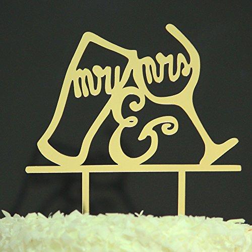 Betalala Gold Wine glasses Mr Mrs Cake Topper Shower Birthday Wedding Party Decoration