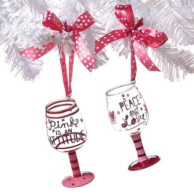 Demdaco Pink Wine Glass Ornaments - 2 Assorted