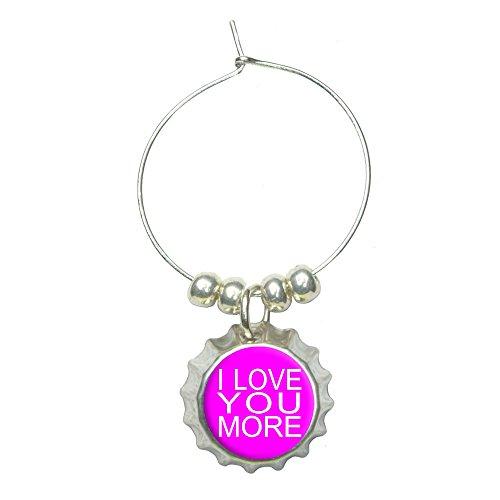 I Love You More on Hot Pink Wine Glass Bottlecap Charm Drink Marker