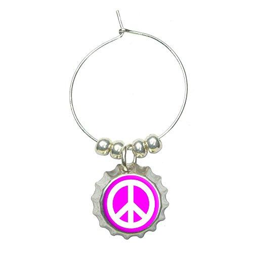 Peace Sign Symbol - Pink Wine Glass Bottlecap Charm Drink Marker