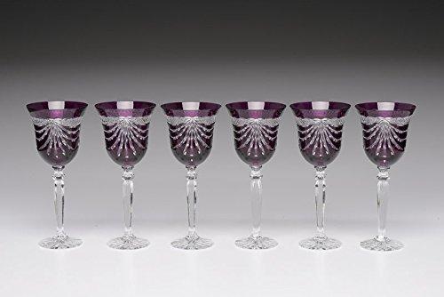 Set of 6 24 Lead Crystal Purple Wine Glasses wDrape Cut Hand Made