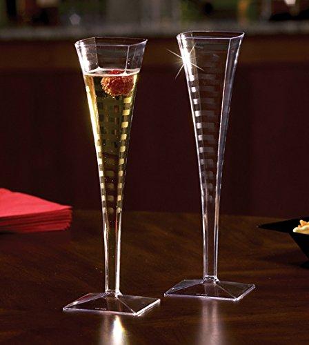 Premium Quality Plastic Champagne Flutes 5 oz 1 Piece Plastic Champagne Glasses Cocktail Glasses Square Champagne Flutes Great Wedding Toasting Flutes Champagne Flute Glasses Set of 12