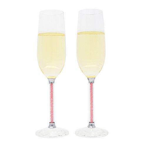 Toasting Flutes Wedding Champagne Glasses Set of 2 Acrylic Rhinestones Stem Pink