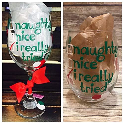 Christmas Wine Glass Holiday Wine Glass Naughty and Nice Wine Glass