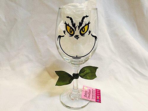 Grinch Wine Glass Christmas Wine Glass Holiday Wine Glass