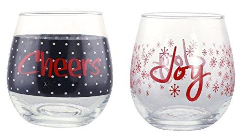 KOVOT HolidayCHEERS andJOY Stemless Wine Glass Set of 2 16 oz