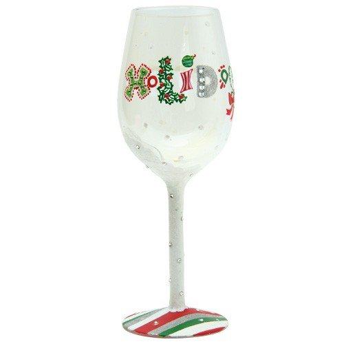 Santa Barbara Design Studio GLS11-5521Q Lolita Love My Wine Hand Painted Glass Holiday Wine