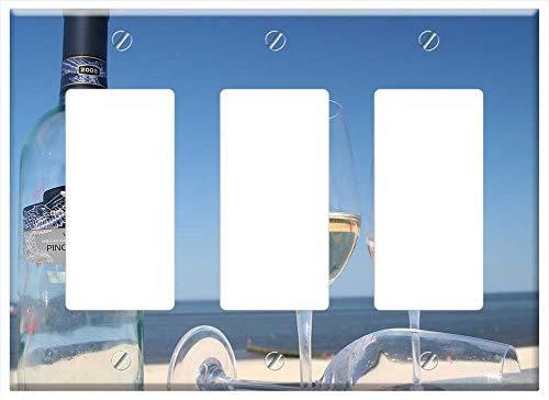 Switch Plate Triple RockerGFCI - Sylt Wine Summer Beach Holiday Wine Glass