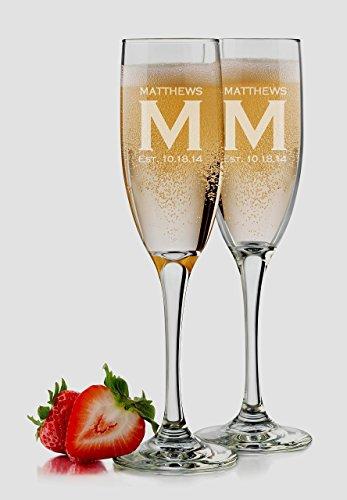 Bride and Groom Glasses 6 oz Set of 2 Personalized Champagne Glasses Bridesmaid Glasses Monogram Wedding Toasting Glasses