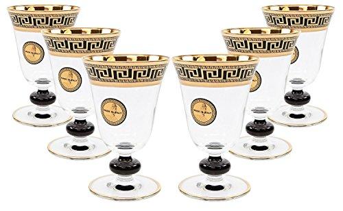 ArtDecor Greek Key Pattern 8 Oz Sofia Wine Goblets Crystal Stem Glasses 24K Gold