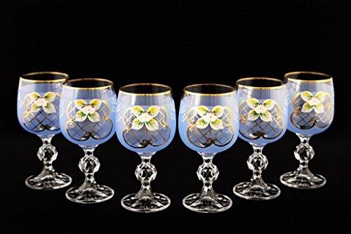 Crystalex 6pc Bohemia Colored Crystal Vintage Enamel Blue Wine Goblets Set 24K Gold-Plated Hand Made