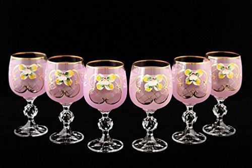 Crystalex 6pc Bohemia Colored Crystal Vintage Pink Enamel Wine Goblets Set 24K Gold-Plated Hand Made