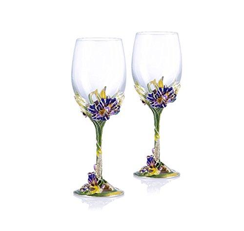 RORO Wedding Gift Enameled and Jeweled Bohemian Crystal Wine Goblets Swarovski Decoration Luxury Home Accessories